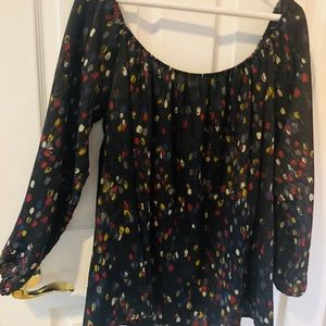 Glam off the shoulder multi-color tunic